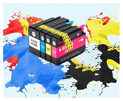 LIUYB 932XL 933XL Cartucho de Tinta for HP 932 933 CN053A CN054A CN055A CN056A compatibles for HP 6100 6600 6700 7110 7610 7612 7510 (Color : 1BK 1C 1Y 1M)