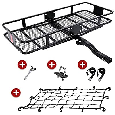 "KING BIRD Upgraded 550LBS Capacity 60"" x 24"" x 6"" Hitch Mount Folding Cargo Carrier Fits to 2'' Receiver,Heavy Duty Cargo Basket with Trailer Hitch Lock,Hitch Stabilizer,Net and Straps"