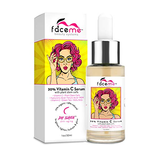FACEME Vitamin C Serum for Face - Organic & Natural Face Serum - Skin Brightening Serum For Face - Anti-Aging Formula with Hyaluronic Acid, Plant Stem Cells & Antioxidants - 20% Concentrate, 1oz