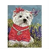 weilan1999 Digitales ÖlgemäldeDIYGerahmte Gemälde Tiere Hunde Tragen Rote Kleidung Und Perlenketten Hunde Dekorative Malerei Färbung Malerei40X50Cm