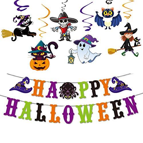 WENTS Halloween Dekoration Set Kompakt Happy Halloween Deko Spirale Konfetti Partykette für Halloween Party Dekoration
