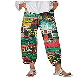 ZPO Mujer Pantalones de Lino Pantalón Bombachos Harem de Yoga Pantalones Casuales Pantalón Cropped