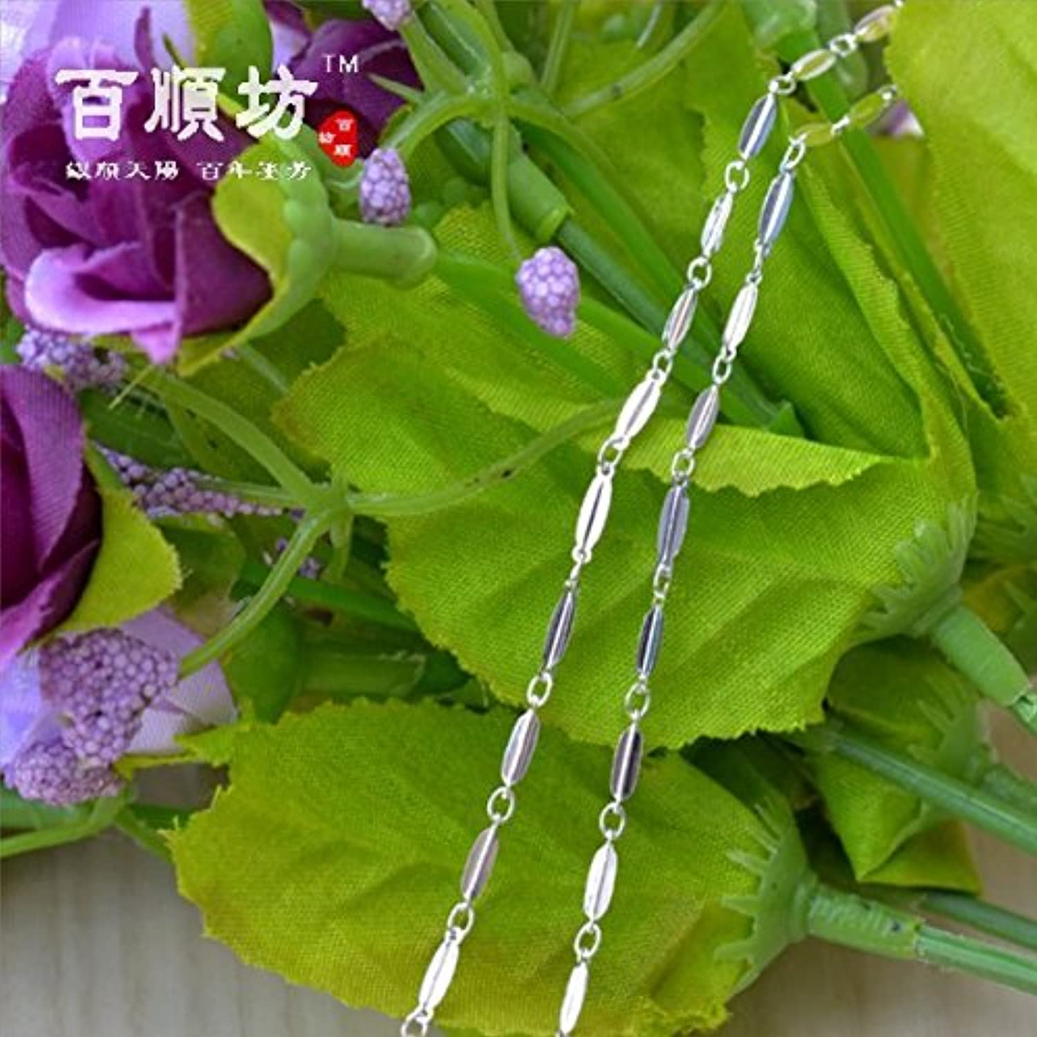 Li Jiang Baishun Square Sterling Silver Necklace Pendant Silver 999 fine Silver Snow Silver Fashion Necklace Pendant Oval Type 44-1