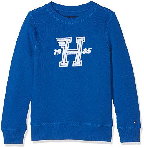 Tommy Hilfiger Jungen Retro Applique Crew Neck Sweatshirt, Blau (Nautical Blue 493), 164 (Herstellergröße: 14)