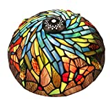 Premium Tiffany Style Butterfly and Stereoscopic Ears of Wheat Ceiling Lights Replacement Lamp Shade, Multi-Colored, 12' Width, by NOSHY (Exclusion Accessories)