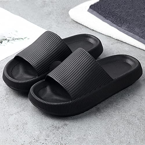 ZZLHHD Quick Drying Bathroom Slippers,Thick summer slippers, men and women outdoor slippers,-black_40-41,men's sandals