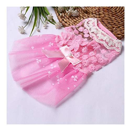 AGNN Sommer-Hundekleid Hochzeit Hunde-Bekleidung for kleine Hunde Hundekleidung Welpen Röcke Tulle Katze Kleider Chihuahua Kleidung (Color : Pink, Size : XS)