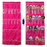 Hanging Over Door Toy Storage Organizer (24 Pockets), Compatible with Lol Omg Dolls Barbie Dolls Surprise Doll (Toys Not Included), Deeppink (57.5''x22'')