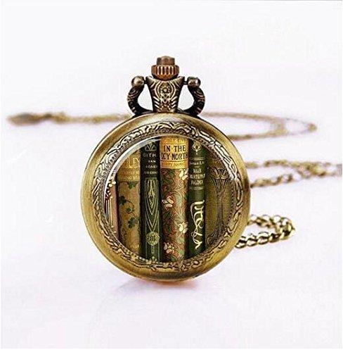 Collar de reloj de bolsillo para libros de biblioteca, colgante de reloj de bolsillo, joyería de libro, regalo para profesores reloj de bolsillo, joyería de profesor, regalo para escritor