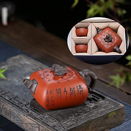 New ZJYSM Teapot celebrated hand-Quartet blessing teapot tea pot two cups Gift Set ZJYSM (Color : On...