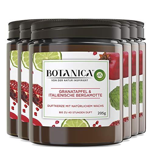 Botanica by Air Wick Duftkerze – Duft: Granatapfel & Italienische Bergamotte – Nachhaltig hergestellt mit natürlichen Inhaltsstoffen – 6 x Kerze im Glas