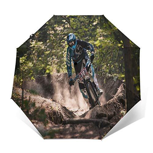 Paraguas Plegable Automático Impermeable Ciclista de Movimiento de Bicicleta de Bosque, Paraguas...