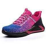 UCAYALI Zapatos de Seguridad con Punta de Acero para Mujer Zapatillas de Trabajo Puntera Reforzada Calzado de Protección Industria Construcción - Cómodos Ligeros y Antideslizantes(Rosa, 43)