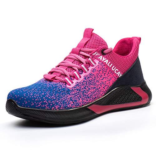 UCAYALI Zapatos de Seguridad con Punta de Acero para Mujer Zapatillas de Trabajo Puntera Reforzada Calzado de Protección Industria Construcción - Cómodos Ligeros y Antideslizantes(Rosa, 44)