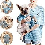 Ropa Familiar Igual Combina con La Ropa del Dueño Y del Perro. La Camiseta Azul De Algodón A Rayas Es Adecuada para Perros/Gatos Pequeños,L