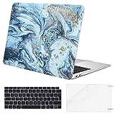 Eono 3 en 1 Carcasa Protectora Compatible con MacBook Air 13 Pulgadas Retina (A1932, 2019/2018) de Plástico Duro & Cubierta de Teclado & Protector de Pantalla, Ola Creativa