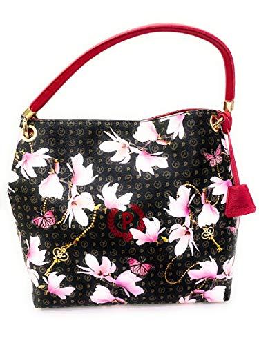 Pollini - Bolso de hombro con asa intercambiable de la nueva colección Heritage Secret Garden. Cierre con botón. Logo delantero, 33 x 35 x 13 cm