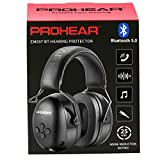 PROHEAR 037 Bluetooth 5.0 Hearing Protection Headphones with Rechargeable 1500mAh Battery, 25dB NRR Safety Noise Reduction Ear Muffs with 40H Playtime for Mowing, Workshops, Snowblowing - Black