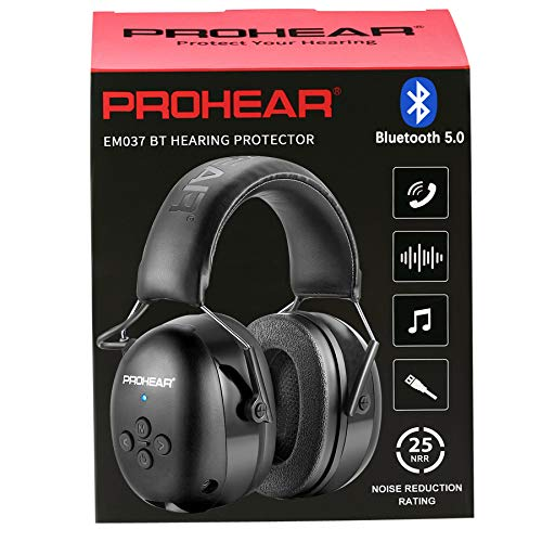 PROHEAR 037 Bluetooth 5.0 Hearing Protection Headphones with Rechargeable 1100mAh Battery, 25dB NRR Safety Noise Reduction Ear Muffs with 40H Playtime for Mowing, Workshops, Snowblowing - Black