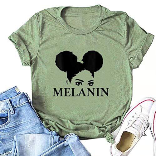 YourTops Mujer Melanin Graphic T-Shirt Afro Mujer Camiseta, 7- verde, Small