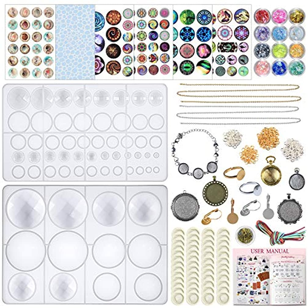 FUNSHOWCASE Resin Silicone Cabochons Mold Jewelry Casting Set of Round Diamond Trays, Film, Chain Earrings and Bracelet Bezels, Necklace, Findings 289-Kit