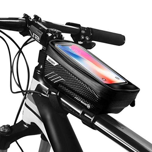 BACAKSY Borsa Telaio Bici, Impermeabile Borsa da Manubrio per Biciclette con Supporto per Telefono Anteriore Top Tubo Borsa Bici MTB BMX Touch Screen per iPhone Samsung Huawei Smart Phone Fino a 6,5''