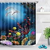 Cortina de ducha colorida para acuarios subacuáticos para el baño, decoración de baño infantil, tela resistente al agua, 183 x 183 cm
