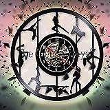 CVG Sexy Pole Dancers Reloj de Pared Exótico Acrobático Pole Dancer Disco de Vinilo Reloj de Pared...