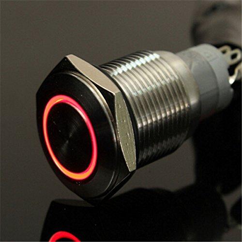 FEVERWORK EsportsMJJ 12V 16mm vergrendeling Engel Oog LED Drukknop Schakelaar Platte Hoofd Metaal verlichte Schakelaar -Rood