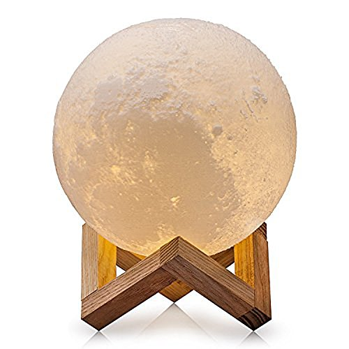 Ricris Moon Lamp, 3D Printed Moon Light Lamps with Wood Stand, Tap Control 3 Colors Changing Moon...