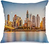 Starohou Throw Pillow Cover Long Exposure Downtown Waterfront River Pittsburg Skyline Roberto Landmarks On Us Business Finance Comfortable Linen Decorative Cushion Pillowcase for Chair 18x18 Inch