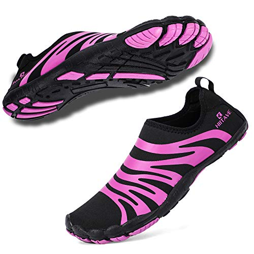 hiitave Women Water Shoes Barefoot Beach Aqua Socks Quick Dry for Outdoor Sport Swiming Surfing Black/Purple 7-7.5 M US Women