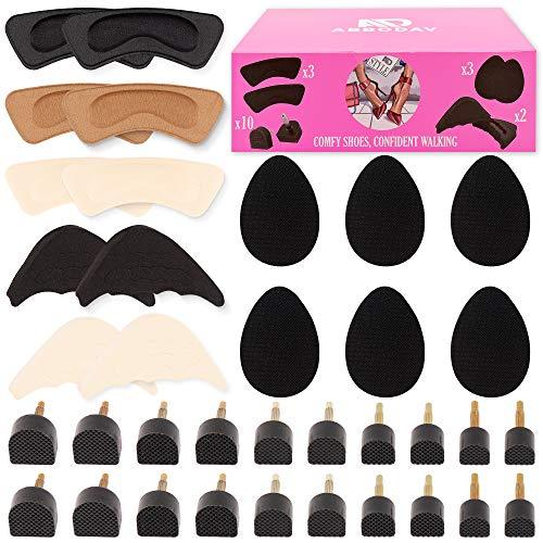 High Heel Replacement Tips Women - 10 Pairs Shoes Taps Caps Replacements 5 Sizes 3 Pairs Adhesive Non Slip Heel Pads 3 Pairs Cushion Protectors Inserts 2 Pairs Shoe Filler Shoes Accessories Repair Kit