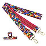 Purse Strap Replacement Guitar Style Multicolor Canvas Crossbody Strap for Handbags (Rainbow)