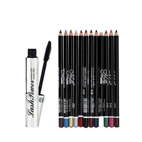 Sharplace Waterproof 3D Mascara Noir à Cils Curling - Long Mascara Volume + 12pcs Crayon à Sourcils Stylo Eyeliner Multicolore à Maquillage