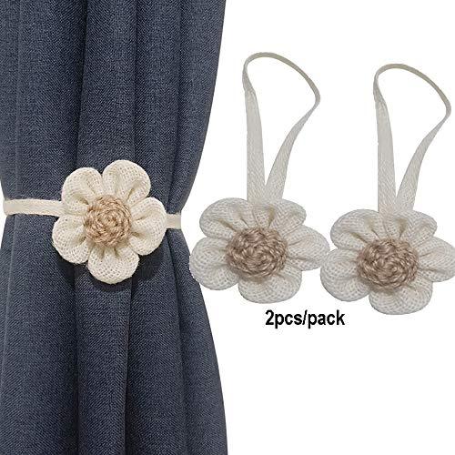 2 fermatende magnetiche decorative a forma di fiore, per decorare la finestra, con bottone magnetico, fermatenda, per casa, ufficio, dormitorio e bagn