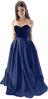 Jonlyc Women's Strapless Velvet Satin A Line Long Prom Evening Dress with Pockets