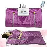 Sauna Blanket,Fencia Digital Heat Sauna Blanket Waterproof with Safety Switch ,110V 2 Zone Anti Ageing Beauty Machine for Body Spa (Purple)