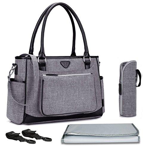 Baby Wickeltasche, BRINCH Multifunktion Baby Windel Umhängetasche tragbare Einkaufstasche mit Wickelunterlage, Isolierte Tasche, Kinderwagenbefestigungen, Grau