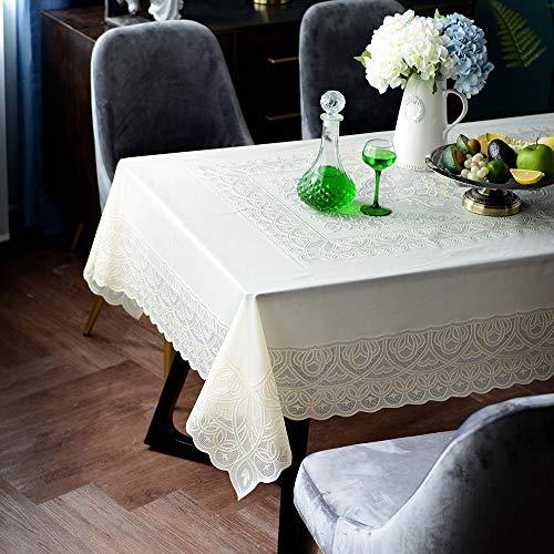 ARTABLE Mantel de PVC retro rectangular impermeable y resistente al aceite con exquisitos patrones para la decoración de la fiesta de boda (beige, 135 x 180 cm)