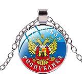 Collar con colgante de Pekhota con emblema de Rusia y diseño de fans militares, recuerdo redondo transparente de metal para hombre y cadena de joyería del ejército