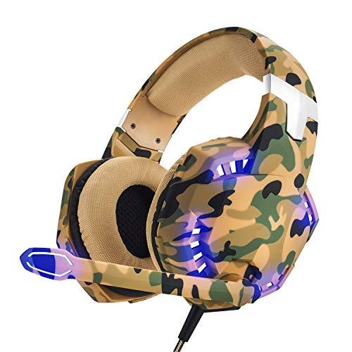 EasySMX Auriculares con Microfono PS5, [Regalos de Reyes] Cascos Gaming para PS5, Nueva Xbox One, Gaming Headset para PS4 con Control de Volumen, Compatible con Laptop PC y Smartphone(Camuflaje)