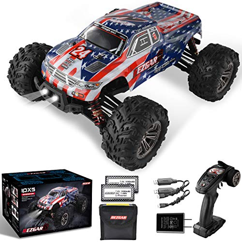 BEZGAR 6 Hobbyist Grade 1:16 Scale Remote Control Truck, 4WD High Speed 42 Km/h All Terrains Electric Toy Off Road RC Monster Vehicle Car Crawler with 2 Rechargeable Batteries for Boys Kids and Adults