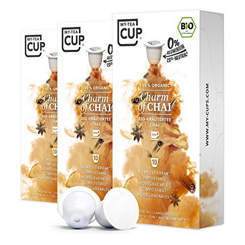 My Tea Cup - TEEKAPSELN CHARM OF CHAI 3 x 10 KAPSELN I BIO-KRÄUTERTEE I 30 Kapseln für Nespresso®³-Kapselmaschinen I 100% industriell kompostierbare & nachhaltige Teekapseln – 0% Aluminium