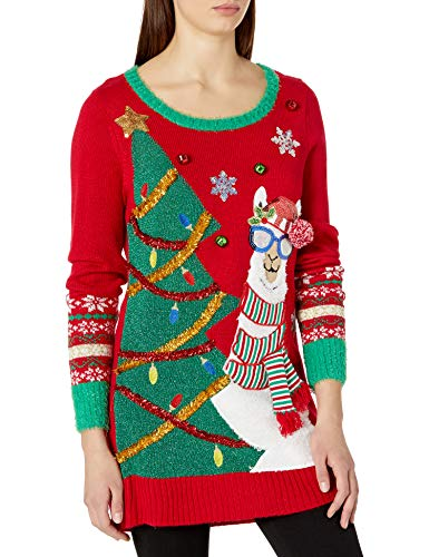 Blizzard Bay Women's Ugly Christmas Reindeer Sweater, red Tree, 2X