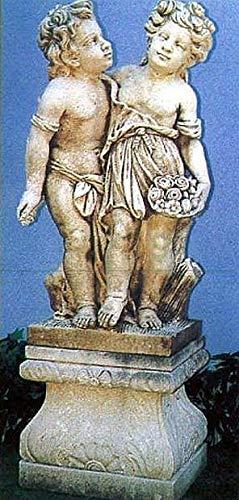 pompidu-living Verliebtes Paar Steinfigur Gartenfigur H 110 B 58 T 30 Farbe hellgrau