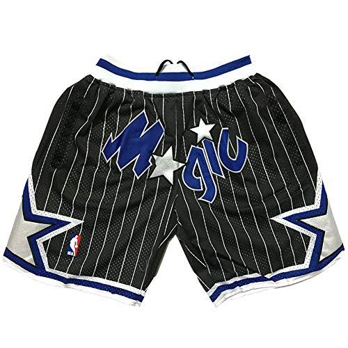 WAIY Orlando Magic Basketball-Shorts, Herren-Jugendsport-Casual-Stickerei-Basketball-Fan-Shorts Atmungsaktive, schweißabsorbierende, schnell trocknende Shorts Wiederholbare Reinigung-Black A-XL