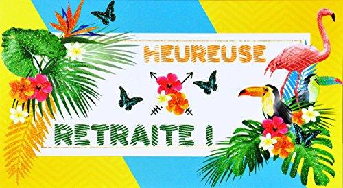 afie 69-4219 starterkaart voor pensioen met pailletten, flamingo, tukan, bloemen, hibiscus, exotisch, palmblad, modieus, vogel met vlinder