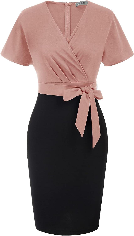 GRACE KARIN Women's Bodycon Pencil Dress Slim Wrap V Neck Office Work Dresses Cocktail Sheath