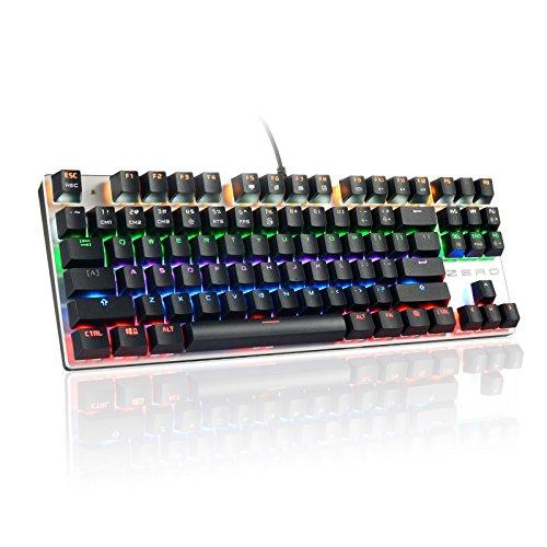 HiveNets 87キー メカニカルキーボード 青軸 ゲーミングキーボード 10パターン LED バックライトモード 有線 Win10/Win 8/Win7/Win7 64/XP/Vista/Vista 64/Mac対応 (ブラック)